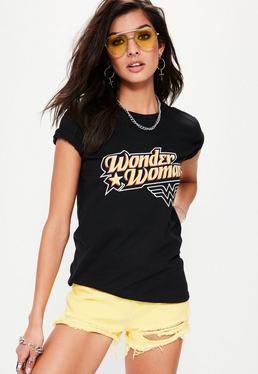 T-Shirt mit Wonder-Woman-Grafik in Schwarz