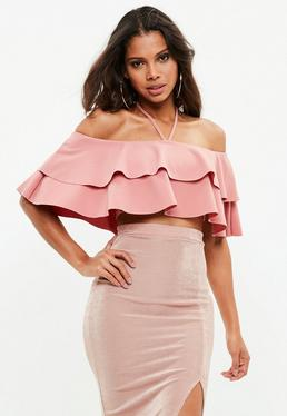 Pink Frill Bardot Crop Top