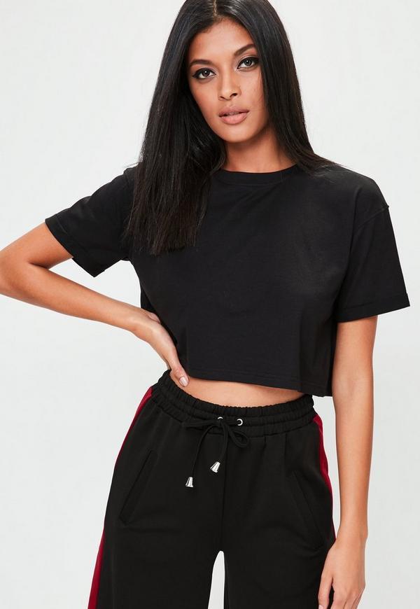 Black Roll Sleeve Crop Top