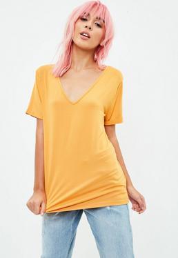 Yellow Boyfriend V Neck Tshirt