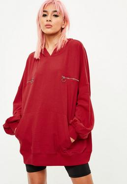 Red Zip Detail Oversized Hoody