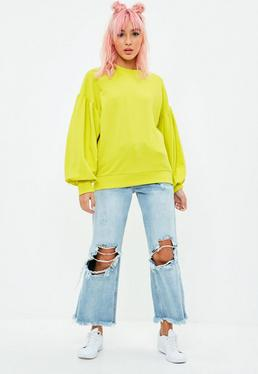 Yellow Oversized Balloon Sleeve Sweatshirt