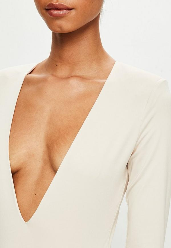 ... Peace + Love Nude Long Sleeve Plunge Bodysuit. Previous Next d8d9ffafb