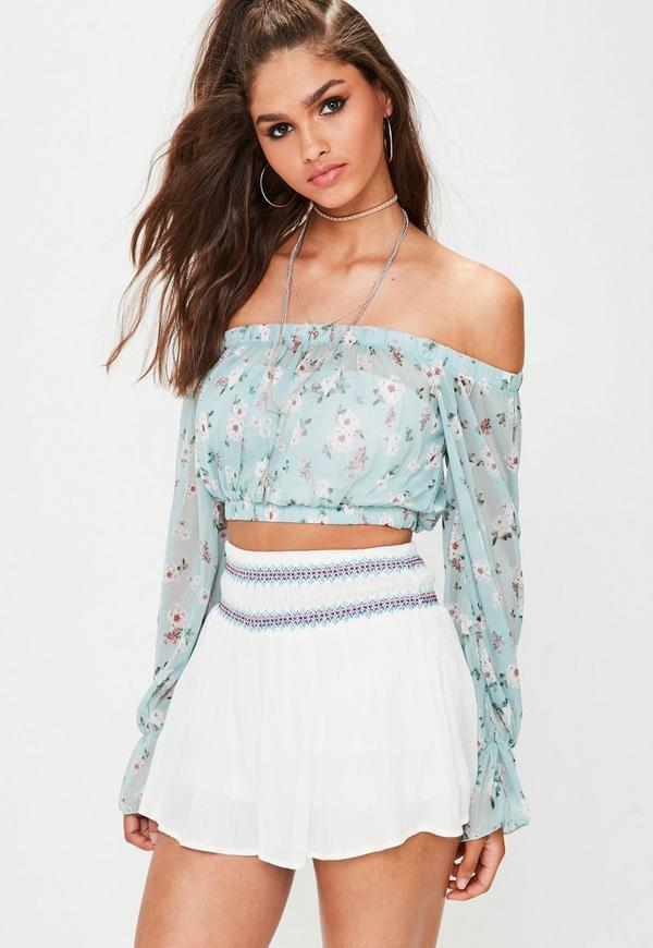 Blue Floral Mesh Bardot Crop Top