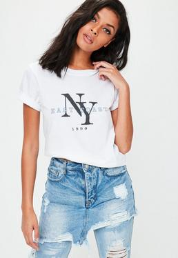Biały T-Shirt z nadrukiem East Coast