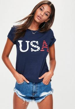 Navy USA Graphic T-shirt