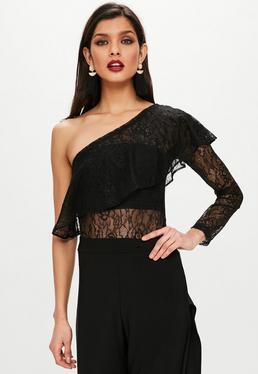 Black One Shoulder Lace Bodysuit