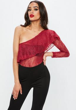 Red Lace One Shoulder Lace Bodysuit