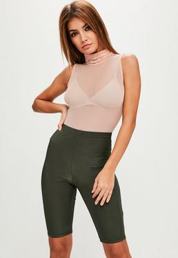 Pink Sleeveless Roll Neck Mesh Bodysuit