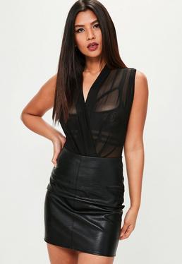 Black Mesh Plunge Bodysuit