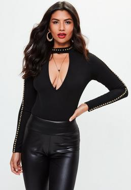 Black Studded Choker Neck Bodysuit