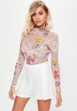 Pink Floral Mesh Bodysuit