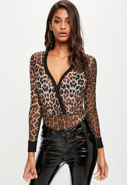 Brown Leopard Mesh Bodysuit