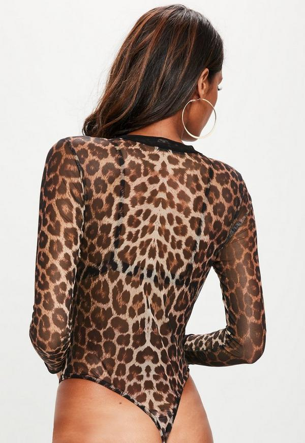 brown leopard mesh bodysuit