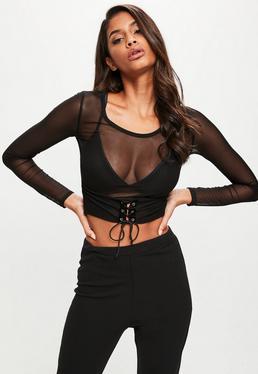 Black Mesh Corset Detail Long Sleeve Crop Top