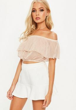 Crop top bardot con transparencias en rosa