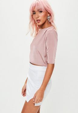 Pink Padded Shoulder Slinky Crop Top