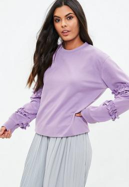 Purple Ruffle Sleeve Sweatshirt