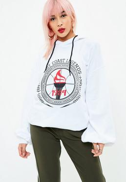 White West Coast Legends Slogan Hoodie
