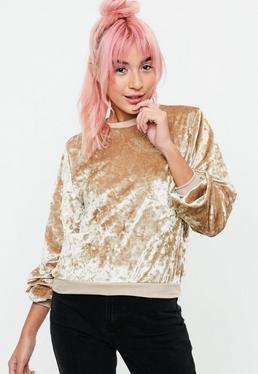 Złota welurowa bluza