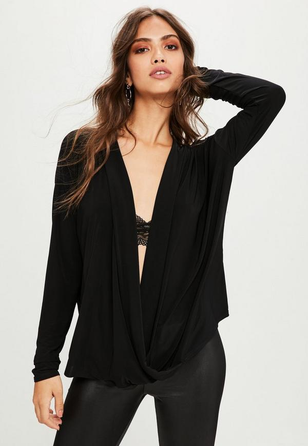 Black Long Sleeve Wrap Front Top Missguided