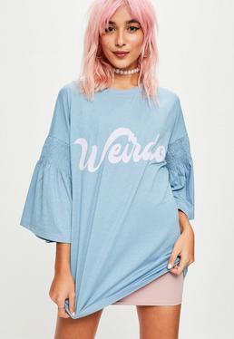 Blue Weirdo Slogan Gathered Sleeve T-Shirt