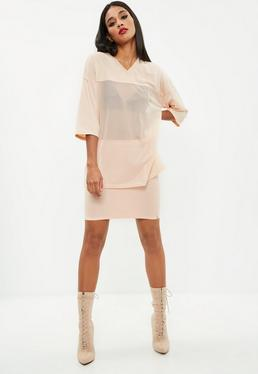 Peach Airtex Mesh Tunic Top