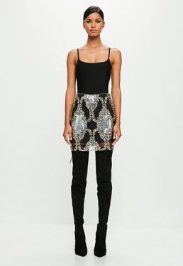 Peace + Love Black Strappy Bandage Bodysuit
