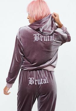 Purple Velour Hoodie Jersey Top