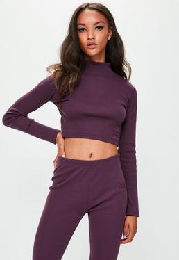 Londunn + Missguided Purple Ribbed Long Sleeve Top
