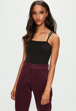 Londunn + Missguided Black Square Neck Bodysuit