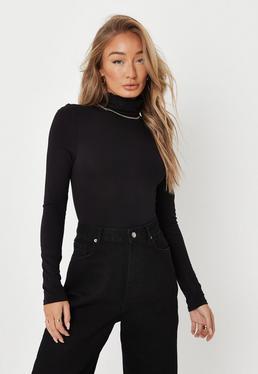 Black Funnel Neck Body Suit