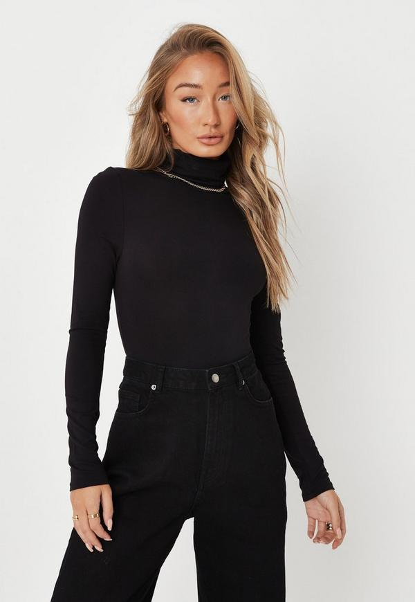 Black Funnel Neck Long Sleeve Bodysuit  caaa0413e