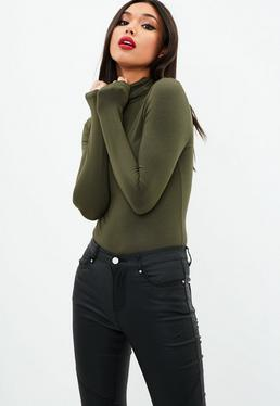Khaki Funnel Neck Bodysuit