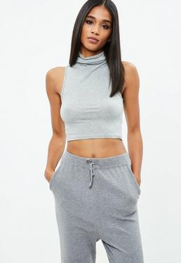 Grey Sleeveless Funnel Neck Crop Top