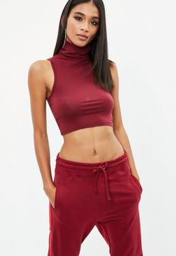 Burgundy Sleeveless Funnel Neck Top