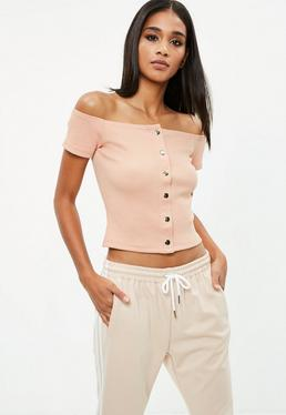 Nude Popper Bardot Crop Top