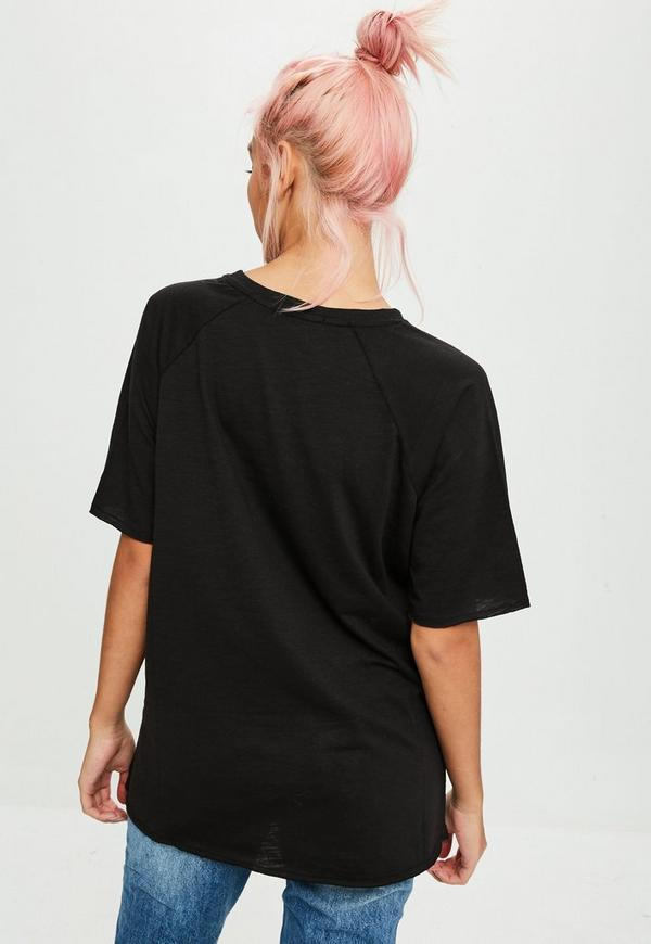 schwarzes slub raglan t shirt missguided. Black Bedroom Furniture Sets. Home Design Ideas