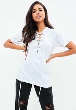White Lace Up Front Burnout T-Shirt