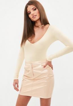 Cream Deep V Neck Long Sleeve Bodysuit