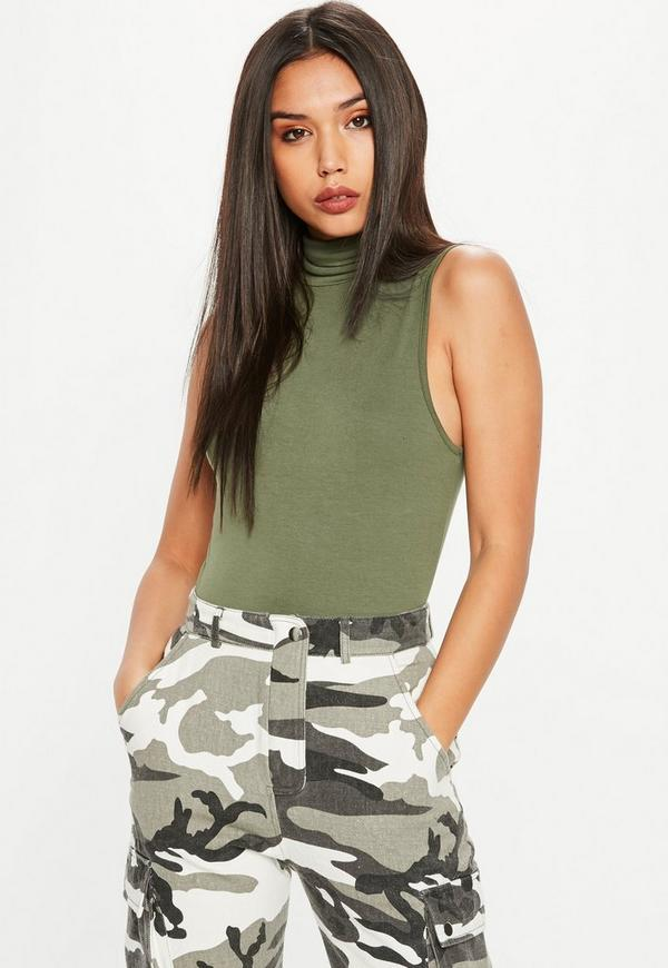 Khaki Turtleneck Sleeveless Bodysuit by Missguided