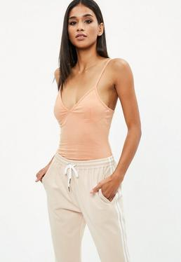 Nude Cupped Strappy Jersey Bodysuit