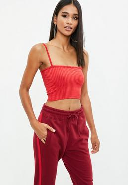 Red Square Neck Crop Top