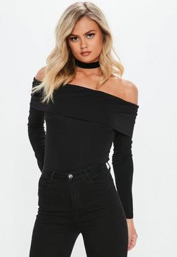 Black Long Sleeve Fold Over Bardot Top