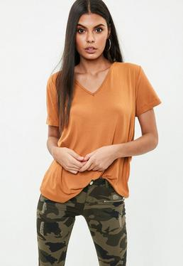 Orange V Neck Boyfriend T-Shirt