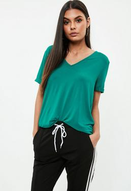 Green V Neck Boyfriend T-Shirt