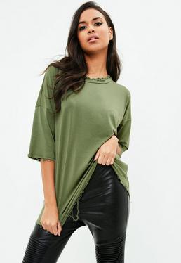 Green Oversized Crew Neck Tshirt