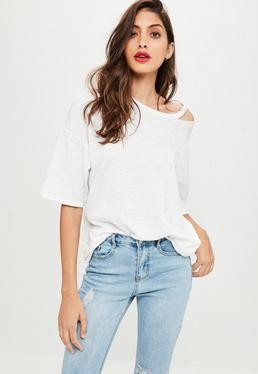 White Deconstructed Neck T-Shirt