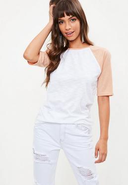 White Contrast Sleeve Raglan Slub T Shirt