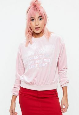 Sudadera de velvetón con eslogan Love en rosa